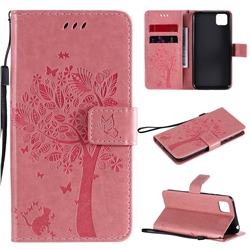 Embossing Butterfly Tree Leather Wallet Case for Huawei Y5p - Pink