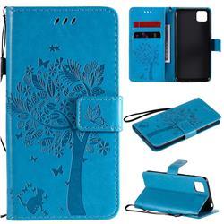 Embossing Butterfly Tree Leather Wallet Case for Huawei Y5p - Blue