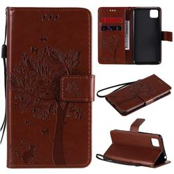 Embossing Butterfly Tree Leather Wallet Case for Huawei Y5p - Coffee
