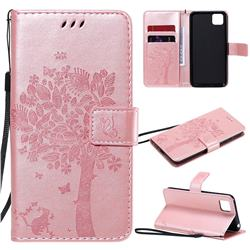 Embossing Butterfly Tree Leather Wallet Case for Huawei Y5p - Rose Pink