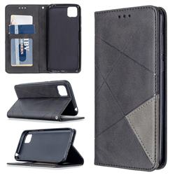 Prismatic Slim Magnetic Sucking Stitching Wallet Flip Cover for Huawei Y5p - Black
