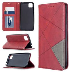 Prismatic Slim Magnetic Sucking Stitching Wallet Flip Cover for Huawei Y5p - Red