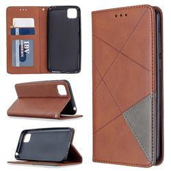 Prismatic Slim Magnetic Sucking Stitching Wallet Flip Cover for Huawei Y5p - Brown
