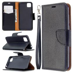 Classic Luxury Litchi Leather Phone Wallet Case for Huawei Y5p - Black