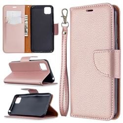 Classic Luxury Litchi Leather Phone Wallet Case for Huawei Y5p - Golden