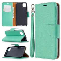 Classic Luxury Litchi Leather Phone Wallet Case for Huawei Y5p - Green