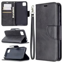 Classic Sheepskin PU Leather Phone Wallet Case for Huawei Y5p - Black