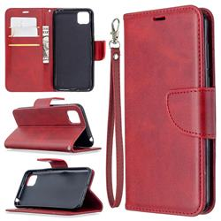 Classic Sheepskin PU Leather Phone Wallet Case for Huawei Y5p - Red