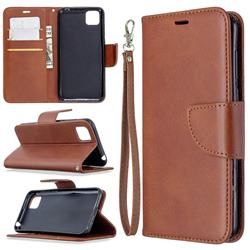 Classic Sheepskin PU Leather Phone Wallet Case for Huawei Y5p - Brown