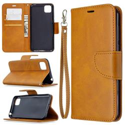 Classic Sheepskin PU Leather Phone Wallet Case for Huawei Y5p - Yellow