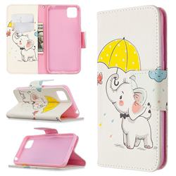 Umbrella Elephant Leather Wallet Case for Huawei Y5p