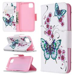Peach Butterflies Leather Wallet Case for Huawei Y5p