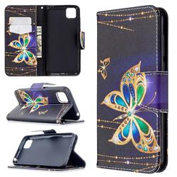 Golden Shining Butterfly Leather Wallet Case for Huawei Y5p