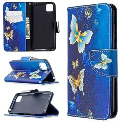 Golden Butterflies Leather Wallet Case for Huawei Y5p