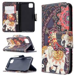 Totem Flower Elephant Leather Wallet Case for Huawei Y5p