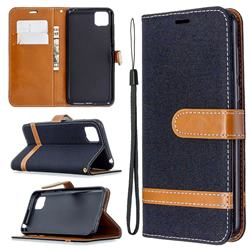 Jeans Cowboy Denim Leather Wallet Case for Huawei Y5p - Black
