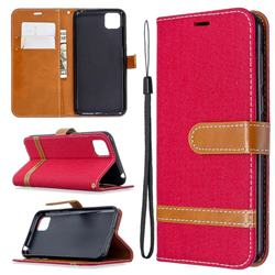 Jeans Cowboy Denim Leather Wallet Case for Huawei Y5p - Red
