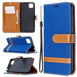 Jeans Cowboy Denim Leather Wallet Case for Huawei Y5p - Sapphire