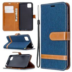 Jeans Cowboy Denim Leather Wallet Case for Huawei Y5p - Dark Blue