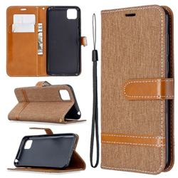 Jeans Cowboy Denim Leather Wallet Case for Huawei Y5p - Brown