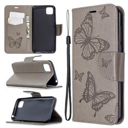 Embossing Double Butterfly Leather Wallet Case for Huawei Y5p - Gray
