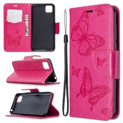 Embossing Double Butterfly Leather Wallet Case for Huawei Y5p - Red