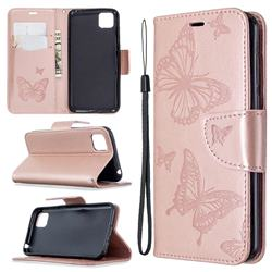 Embossing Double Butterfly Leather Wallet Case for Huawei Y5p - Rose Gold