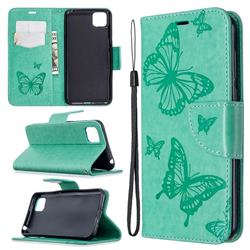 Embossing Double Butterfly Leather Wallet Case for Huawei Y5p - Green