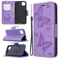 Embossing Double Butterfly Leather Wallet Case for Huawei Y5p - Purple