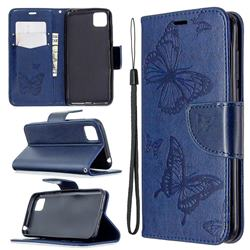 Embossing Double Butterfly Leather Wallet Case for Huawei Y5p - Dark Blue