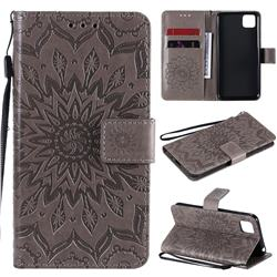 Embossing Sunflower Leather Wallet Case for Huawei Y5p - Gray