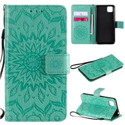 Embossing Sunflower Leather Wallet Case for Huawei Y5p - Green