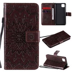 Embossing Sunflower Leather Wallet Case for Huawei Y5p - Brown