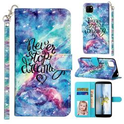 Blue Starry Sky 3D Leather Phone Holster Wallet Case for Huawei Y5p