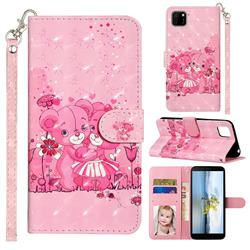 Pink Bear 3D Leather Phone Holster Wallet Case for Huawei Y5p