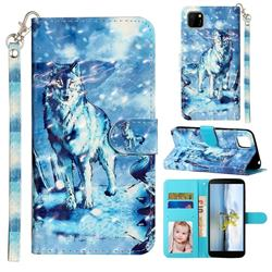 Snow Wolf 3D Leather Phone Holster Wallet Case for Huawei Y5p
