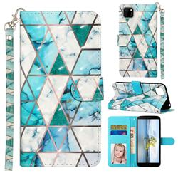 Stitching Marble 3D Leather Phone Holster Wallet Case for Huawei Y5p