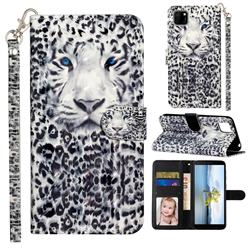 White Leopard 3D Leather Phone Holster Wallet Case for Huawei Y5p