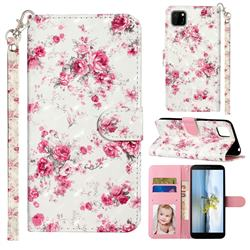 Rambler Rose Flower 3D Leather Phone Holster Wallet Case for Huawei Y5p