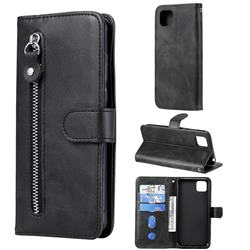 Retro Luxury Zipper Leather Phone Wallet Case for Huawei Y5p - Black