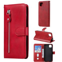 Retro Luxury Zipper Leather Phone Wallet Case for Huawei Y5p - Red