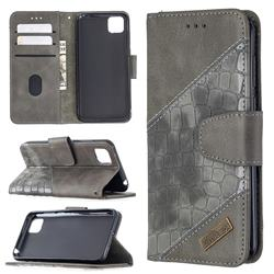 BinfenColor BF04 Color Block Stitching Crocodile Leather Case Cover for Huawei Y5p - Gray
