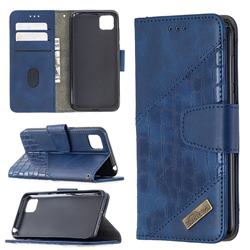 BinfenColor BF04 Color Block Stitching Crocodile Leather Case Cover for Huawei Y5p - Blue