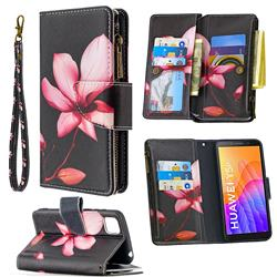 Lotus Flower Binfen Color BF03 Retro Zipper Leather Wallet Phone Case for Huawei Y5p