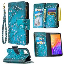 Blue Plum Binfen Color BF03 Retro Zipper Leather Wallet Phone Case for Huawei Y5p