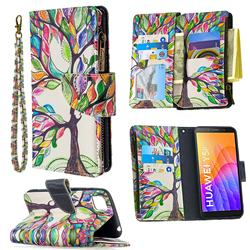 The Tree of Life Binfen Color BF03 Retro Zipper Leather Wallet Phone Case for Huawei Y5p