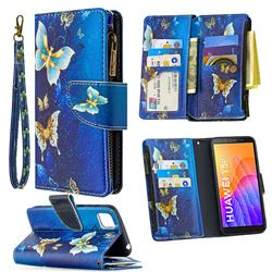 Golden Butterflies Binfen Color BF03 Retro Zipper Leather Wallet Phone Case for Huawei Y5p