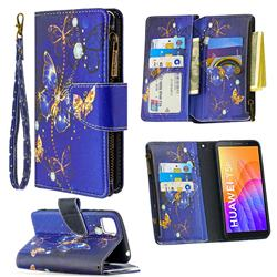 Purple Butterfly Binfen Color BF03 Retro Zipper Leather Wallet Phone Case for Huawei Y5p