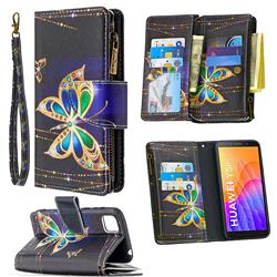 Golden Shining Butterfly Binfen Color BF03 Retro Zipper Leather Wallet Phone Case for Huawei Y5p