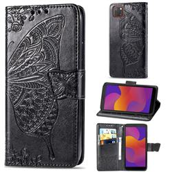 Embossing Mandala Flower Butterfly Leather Wallet Case for Huawei Y5p - Black